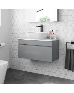 Trent Pebble Grey Wall Hung Drawer Vanity with Marble Top & Curved Counter Top Basin 800mm
