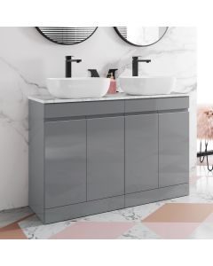 Trent Pebble Grey Double Vanity with Marble Top & Curved Counter Top Basin 1200mm