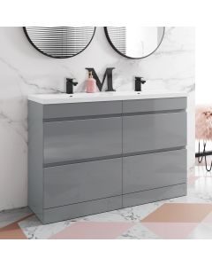Trent Stone Grey Double Vanity Drawer with Marble Top & Curved Counter Top Basin 1200mm