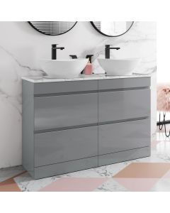Trent Pebble Grey Double Vanity Drawer with Marble Top & Oval Counter Top Basin 1200mm