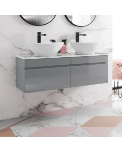 Trent Stone Grey Double Wall Hung Drawer Vanity with Marble Top & Curved Counter Top Basin 1200mm
