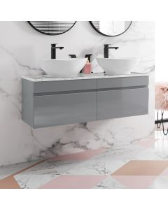 Trent Pebble Grey Double Wall Hung Drawer Vanity with Marble Top & Oval Counter Top Basin 1200mm