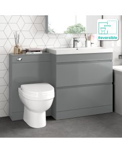 Trent Stone Grey Combination Basin Drawer and Seattle Toilet 1300mm