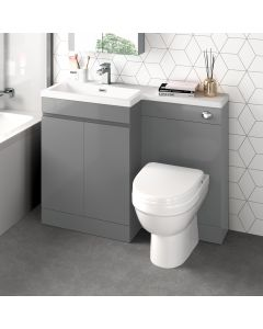 Trent Stone Grey Combination Vanity Basin and Seattle Toilet 1100mm - Left Handed