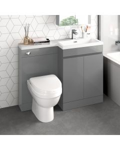 Trent Stone Grey Combination Vanity Basin and Seattle Toilet 1100mm - Right Handed