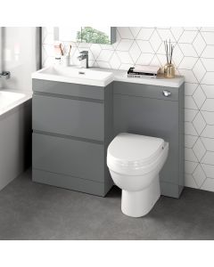 Trent Stone Grey Combination Basin Drawer and Seattle Toilet 1100mm - Left Handed