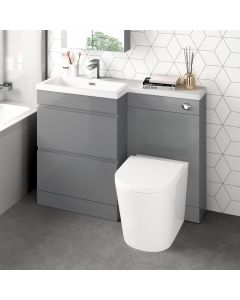 Trent Stone Grey Combination Basin Drawer and Boston Toilet 1100mm - Left Handed