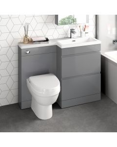 Trent Stone Grey Combination Basin Drawer and Seattle Toilet 1100mm - Right Handed