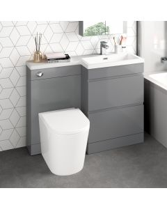 Trent Stone Grey Combination Basin Drawer and Boston Toilet 1100mm - Right Handed