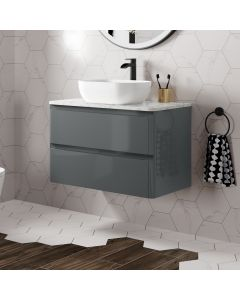 Corsica Storm Grey Wall Hung Drawer Vanity with Marble Top & Curved Counter Top Basin 800mm