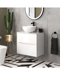 Austin Gloss White Wall Hung Drawer Vanity with Marble Top & Round Counter Top Basin 600mm