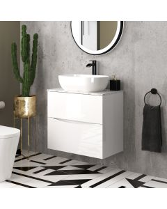 Austin Gloss White Wall Hung Drawer Vanity with Marble Top & Curved Counter Top Basin 600mm