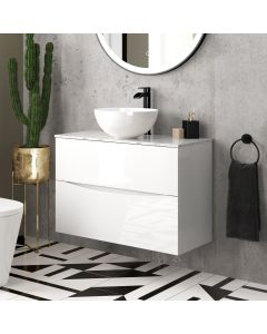 Austin Gloss White Wall Hung Drawer Vanity with Marble Top & Round Counter Top Basin 800mm