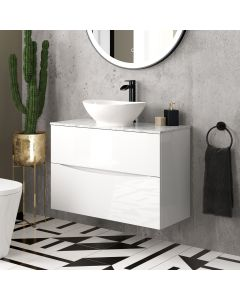 Austin Gloss White Wall Hung Drawer Vanity with Marble Top & Oval Counter Top Basin 800mm