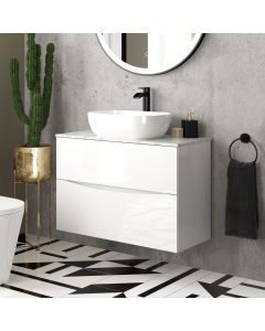 Austin Gloss White Wall Hung Drawer Vanity with Marble Top & Curved Counter Top Basin 800mm