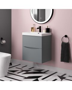 Austin Dove Grey Wall Hung Basin Drawer Vanity 500mm