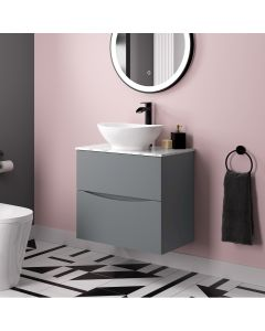 Austin Dove Grey Wall Hung Drawer Vanity with Marble Top & Oval Counter Top Basin 600mm