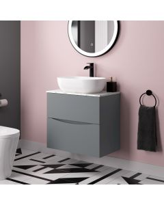 Austin Dove Grey Wall Hung Drawer Vanity with Marble Top & Curved Counter Top Basin 600mm