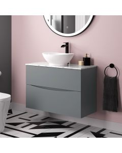 Austin Dove Grey Wall Hung Drawer Vanity with Marble Top & Oval Counter Top Basin 800mm