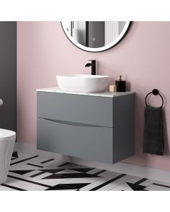 Austin Dove Grey Wall Hung Drawer Vanity with Marble Top & Curved Counter Top Basin 800mm