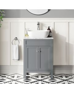 Bermuda Dove Grey Vanity with Marble Top & Curved Counter Top Basin 600mm