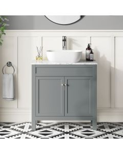 Bermuda Dove Grey Vanity with Marble Top & Curved Counter Top Basin 800mm