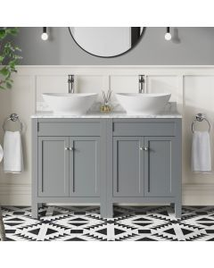 Bermuda Dove Grey Vanity with Marble Top & Oval Counter Top Basin 1200mm