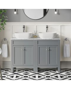 Bermuda Dove Grey Vanity with Marble Top & Curved Counter Top Basin 1200mm