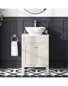 Bermuda Chalk White Vanity with Marble Top & Oval Counter Top Basin 600mm