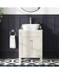 Bermuda Chalk White Vanity with Marble Top & Curved Counter Top Basin 600mm