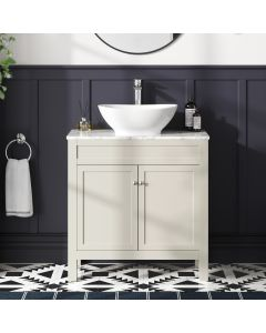 Bermuda Chalk White Vanity with Marble Top & Oval Counter Top Basin 800mm
