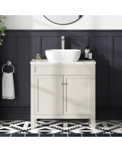 Bermuda Chalk White Vanity with Marble Top & Curved Counter Top Basin 800mm