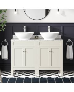 Bermuda Chalk White Vanity with Marble Top & Oval Counter Top Basin 1200mm