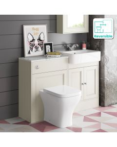 Monaco Chalk White Combination Vanity Basin with Marble Top & Atlanta Toilet 1200mm