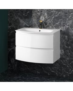 Amelie Gloss White Wall Hung Basin Drawer Vanity 700mm