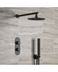 Ballina Premium Matt Black Round Thermostatic Shower Set - 200mm Head & Hand Shower