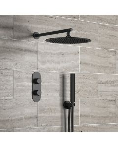 Ballina Premium Matt Black Round Thermostatic Shower Set - 300mm Head & Hand Shower