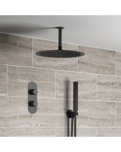 Ballina Premium Ceiling Matt Black Round Thermostatic Shower Set - 300mm Head & Hand Shower