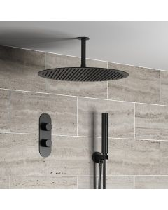 Ballina Premium Ceiling Matt Black Round Thermostatic Shower Set - 400mm Head & Hand Shower