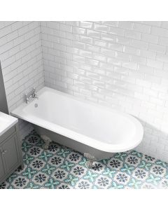 Abingdon 1700mm Dove Grey Single Ended Roll Top Bath - Grey Ball Feet