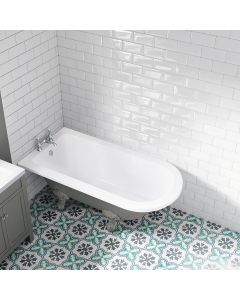 Abingdon 1500mm Dove Grey Single Ended Roll Top Bath - Grey Ball Feet