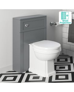 Bermuda Traditional Dove Grey Slimline Back To Wall Unit And Hudson Toilet