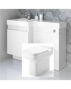 Olympia Gloss White Combination Basin Drawer and Trim Toilet 1200mm - Left Handed