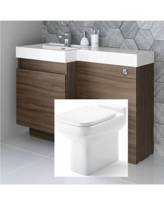 Olympia Walnut Combination Basin Drawer and Trim Toilet 1200mm - Left Handed