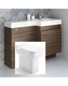 Olympia Walnut Combination Basin Drawer and Trim Toilet 1200mm - Right Handed