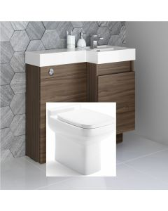 Olympia Walnut Combination Basin Drawer and Trim Toilet 900mm - Right Handed