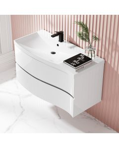 Bali Gloss White Wall Hung Basin Drawer Vanity 1000mm -left Handed