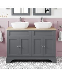 Lucia Slate Grey Double Vanity With Oak Top & Curved Counter Top Basin 1200mm