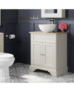 Lucia Chalk White Vanity With Oak Top & Round Counter Top Basin 640mm
