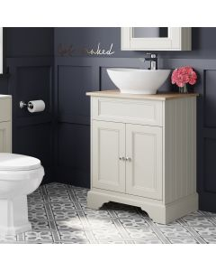 Lucia Chalk White Vanity With Oak Top & Oval Counter Top Basin 640mm